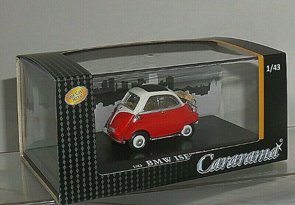 Cararama 4-12350 1/43 Scale BMW Isetta 250 Bubble Car Red / White Suitcase
